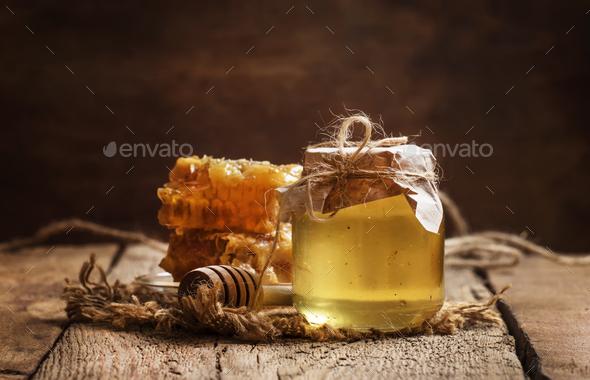 Honey jar and honeycomb - Stock Photo - Images