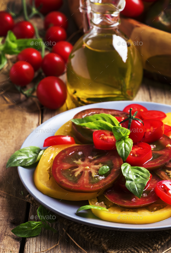 Salad of colorful tomatoes - Stock Photo - Images