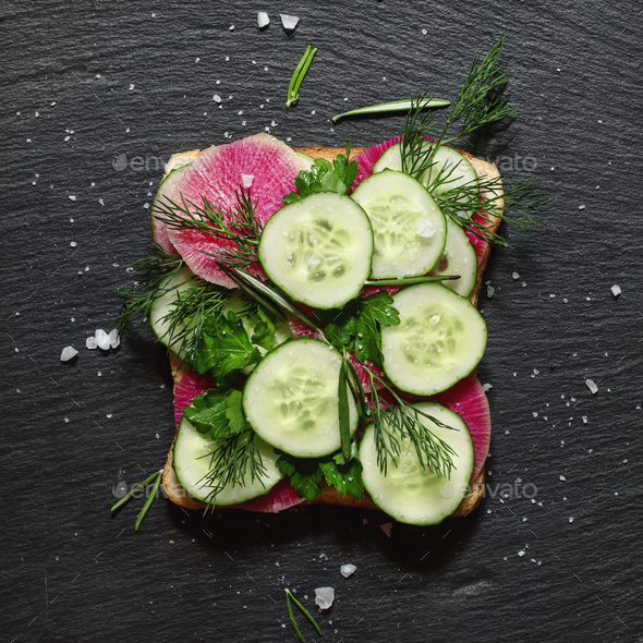 Vegan sandwich with cucumber and radish - Stock Photo - Images