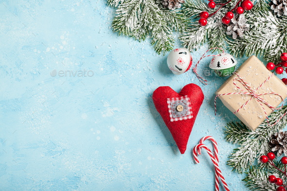 Christmas decoration and gift box background - Stock Photo - Images