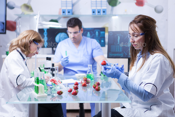 Team of reseach scientist in a lab doing analysis on strawberries - Stock Photo - Images