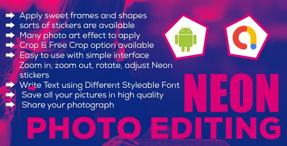 Neon Light Photo Editor   Shinning Neon Photo editor    Android App   Admob Ads
