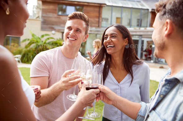 Group Of Multi-Cultural Friends Making A Toast At Outdoor Summer Garden Party Together