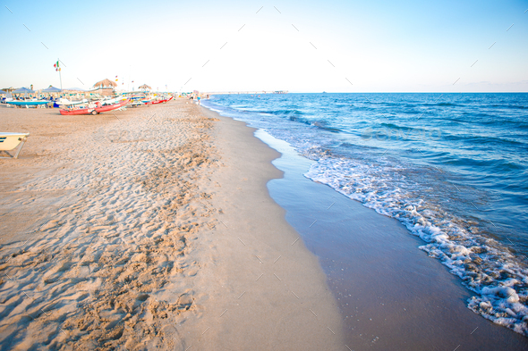 Sea European beach in Italy, Forte dei Marmi - Stock Photo - Images