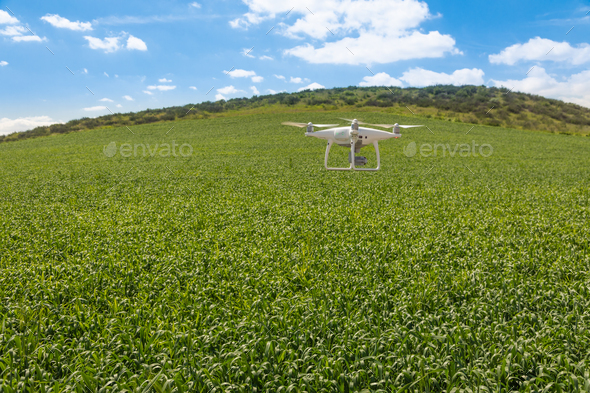 Drone Unmanned Aircraft Flying and Gathering Data Over Country Farmland - Stock Photo - Images