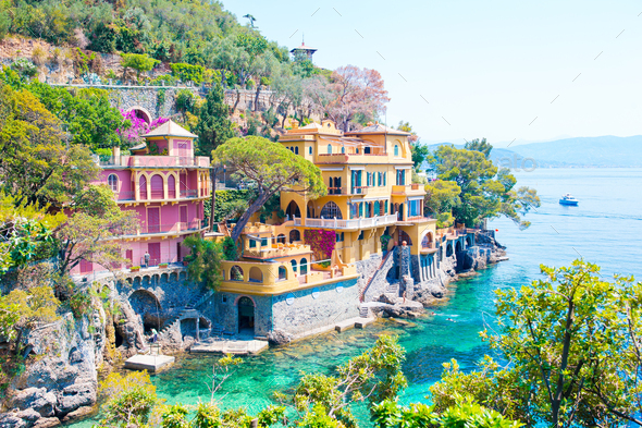 Beautiful sea coast with colorful houses in Portofino, Liguria, Italy. Summer stunning landscape - Stock Photo - Images