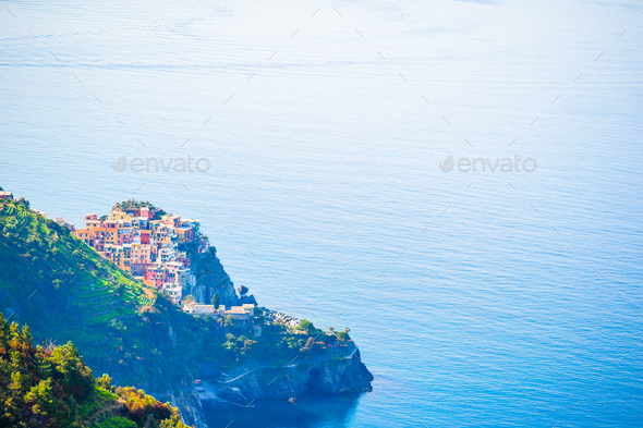 View on architecture of Corniglia town from above. One of five famous colorful villages of Cinque - Stock Photo - Images
