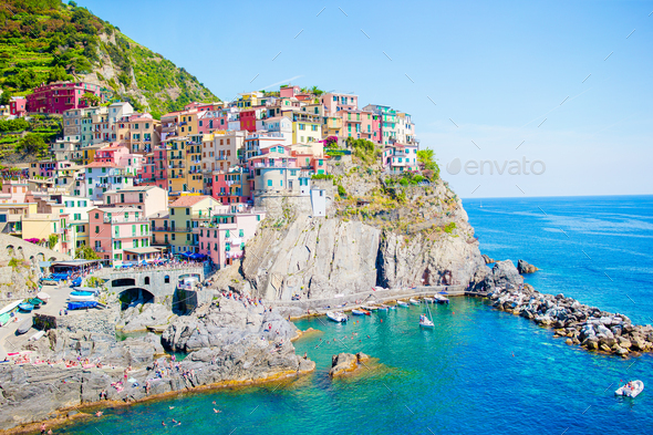 Amazing view of the beautiful village of Manarola in the Cinque Terre Reserve. Liguria region of - Stock Photo - Images