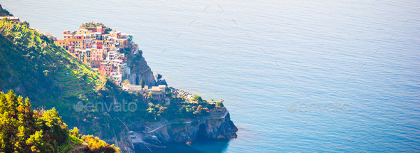 Panoramic view of beautiful view of Corniglia from above. One of five famous colorful villages of - Stock Photo - Images