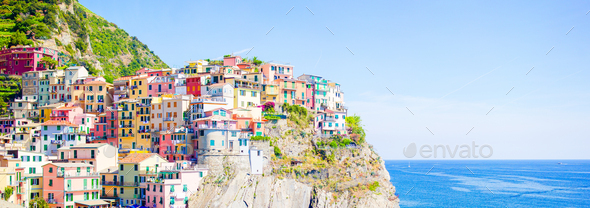 Panoramaof amazing view of the beautiful and cozy village of Manarola in the Cinque Terre Reserve - Stock Photo - Images