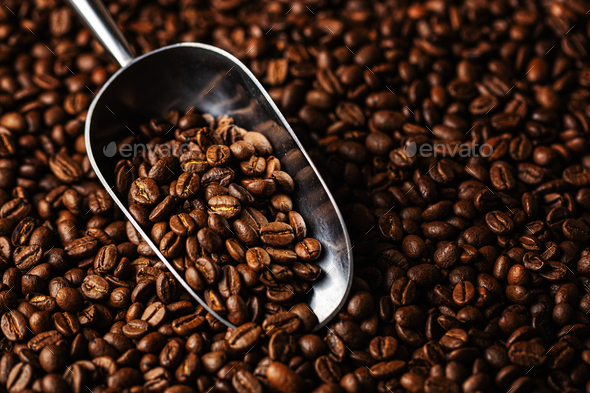 Coffee beans on scoop - Stock Photo - Images