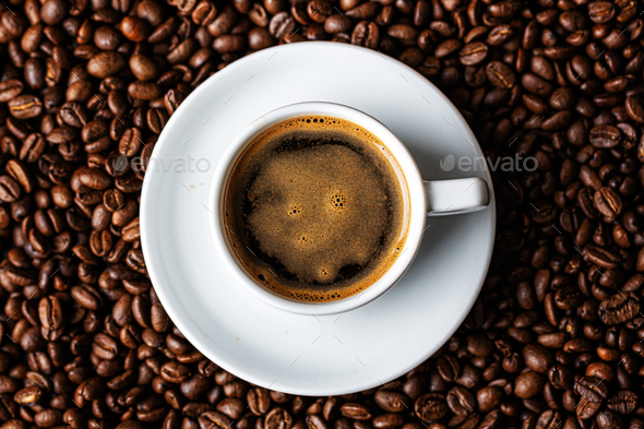 Espresso coffee served in cup - Stock Photo - Images