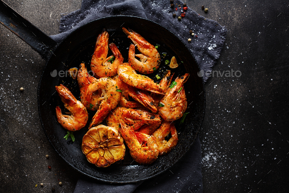 Roasted shrimps on pan - Stock Photo - Images