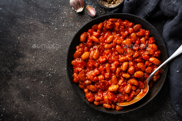 Baked beans with tomato sauce - Stock Photo - Images