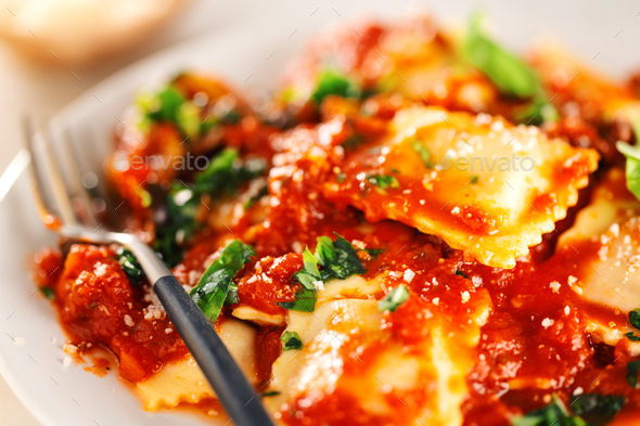 Closeup of tasty italian ravioli - Stock Photo - Images