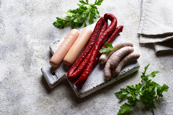 Assortment of sausages for grilled - Stock Photo - Images