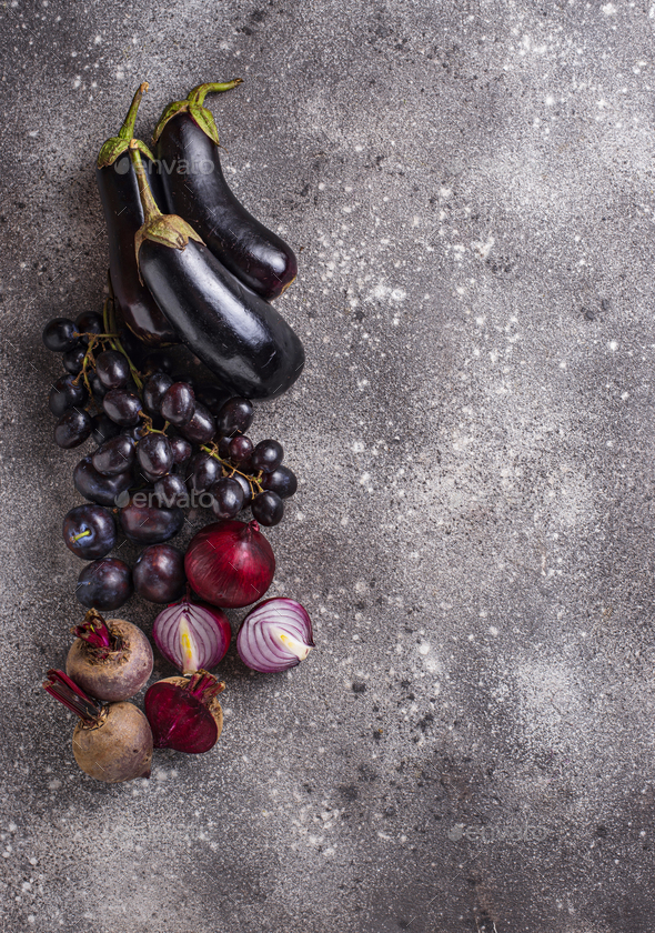 Set of purple vegetables and fruits - Stock Photo - Images