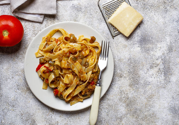 Pasta with eggplant and tomatoes - Stock Photo - Images