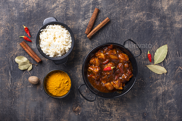Curry chicken tikka masala with rice - Stock Photo - Images