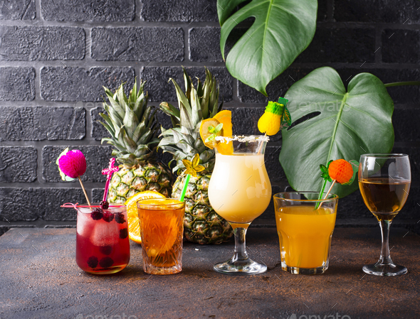 Set of different summer cocktails - Stock Photo - Images