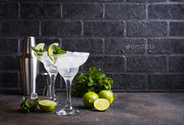 Margarita cocktail with lime and ice - Stock Photo - Images