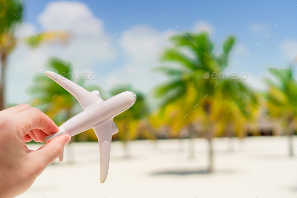 Small white miniature of an airplane on background of exotic beach and palmtrees - Stock Photo - Images