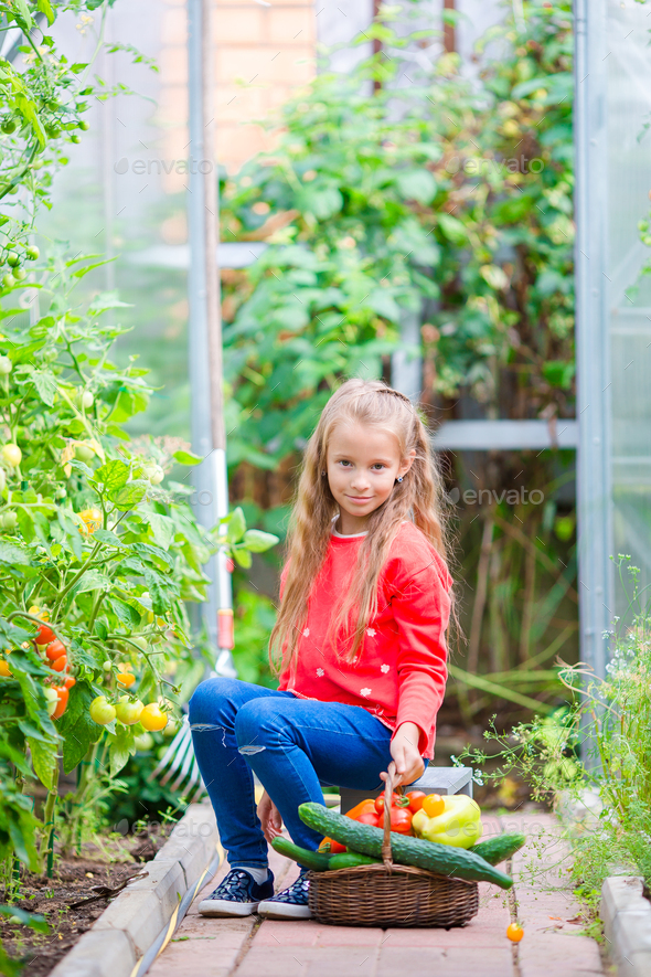 Adorable little girl in greenhouse in summer day - Stock Photo - Images