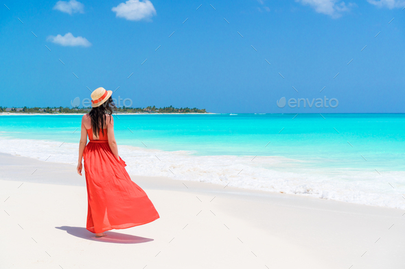 Young beautiful woman on tropical seashore. Back view of young girl in red dress background the sea - Stock Photo - Images