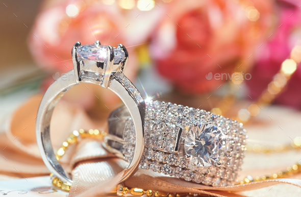 Close-up view of the diamond rings - Stock Photo - Images