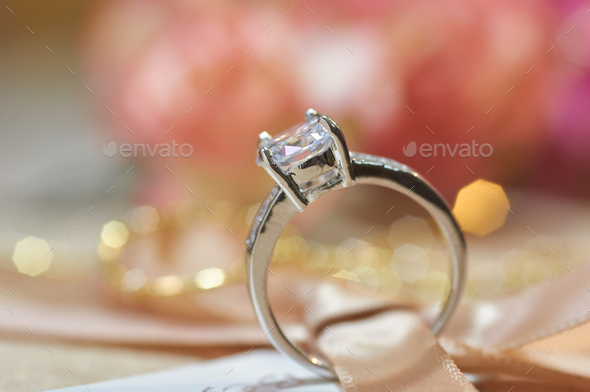 Close-up view of a diamond ring - Stock Photo - Images
