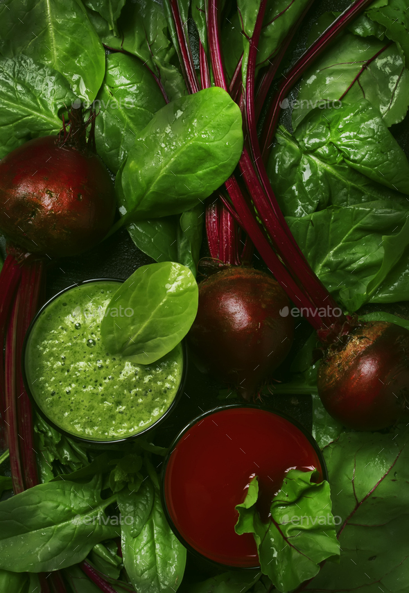 Detox vegan smoothies from raw beets and spinach - Stock Photo - Images