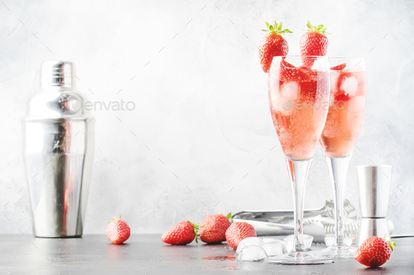 Rossini alcoholic cocktail - Stock Photo - Images