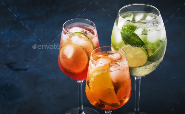 Set of summer Italian alcoholic cocktails - Stock Photo - Images