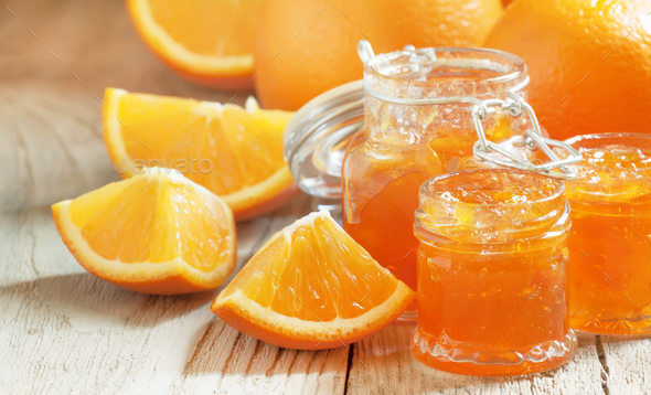 Orange jam and fresh oranges - Stock Photo - Images