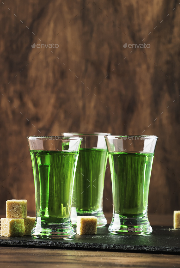 Absinthe - strong alcoholic drink - Stock Photo - Images