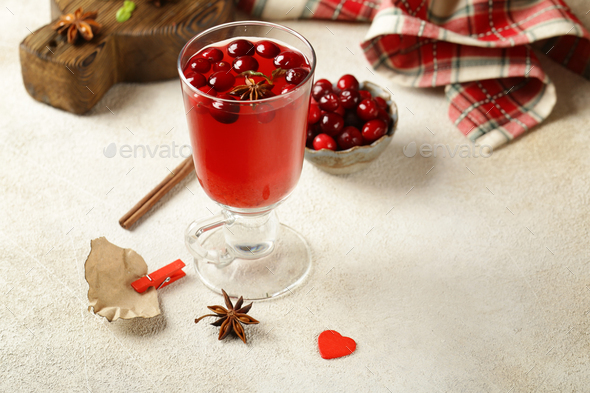 Tea in a Glass with Cranberries - Stock Photo - Images