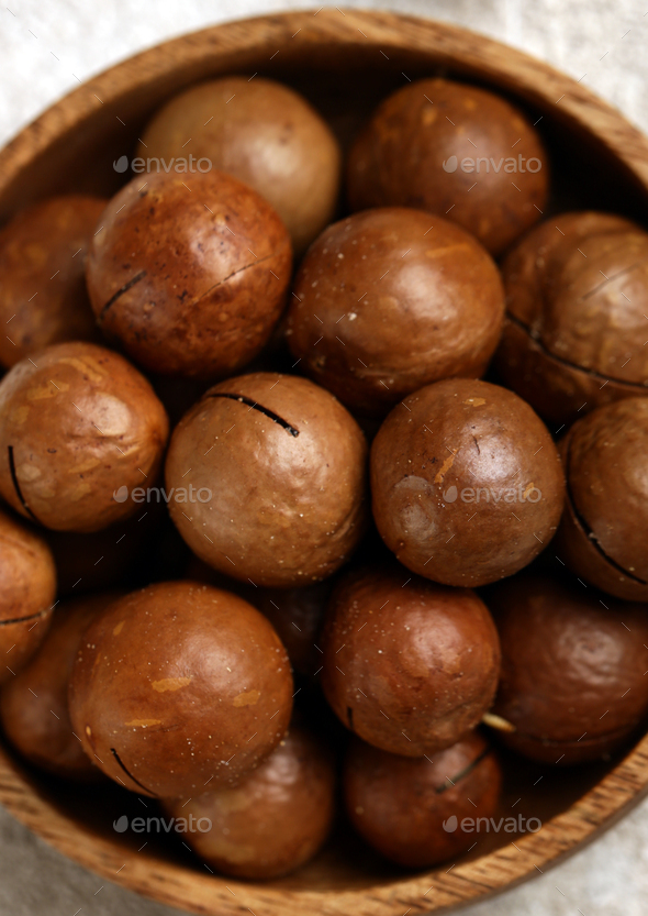 Macadam Nuts in a Bowl - Stock Photo - Images