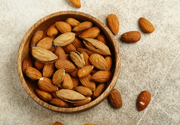 Organic Almonds Nuts - Stock Photo - Images
