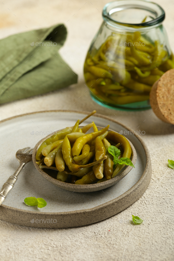 Pickled Green Hot Peppers - Stock Photo - Images