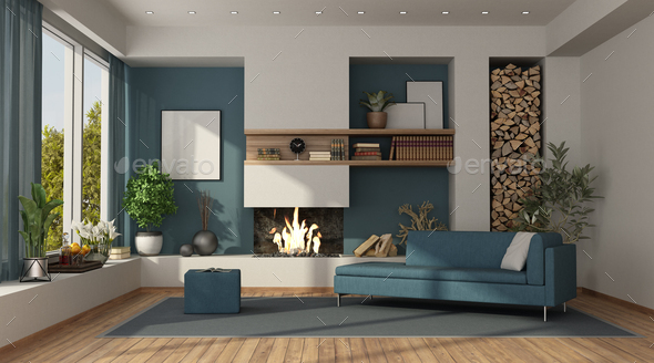 Blue and white living room with fireplace - Stock Photo - Images