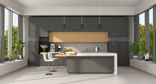 Minimalist concrete and wooden Kitchen with island - Stock Photo - Images