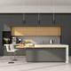 Minimalist concrete and wooden Kitchen with island - PhotoDune Item for Sale
