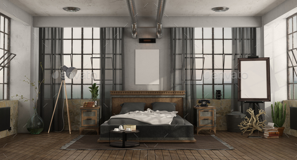 Master bedroom with double bed in a loft - Stock Photo - Images