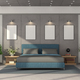 Modern master bedroom with blue double bed - PhotoDune Item for Sale