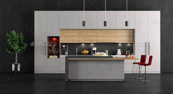 Minimalist concrete and wooden Kitchen - Stock Photo - Images