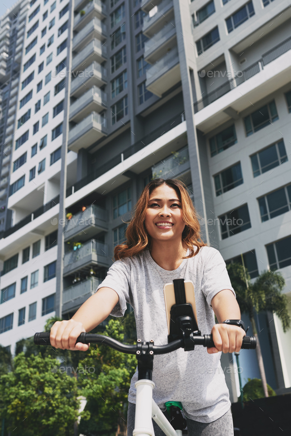 Girl with bicycle - Stock Photo - Images