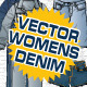 Womens Denim Vector Flat Mock-Ups - Fashion Design - GraphicRiver Item for Sale