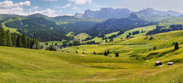 Mountain views from Alpe di Siusi or Seiser Alm, Dolomites Alps , Italy - Stock Photo - Images