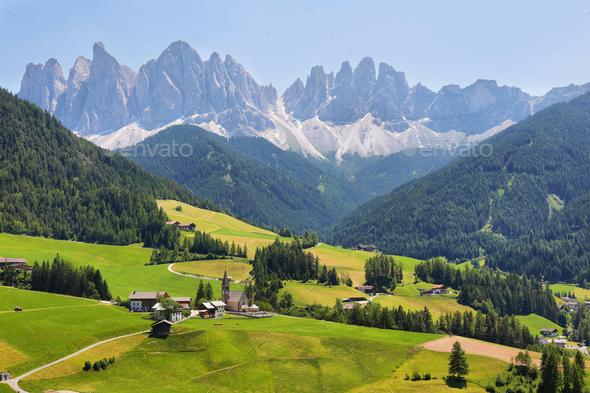 Mountain views near Santa Magdalena, Val di Funes, Dolomite Alps, Italy - Stock Photo - Images