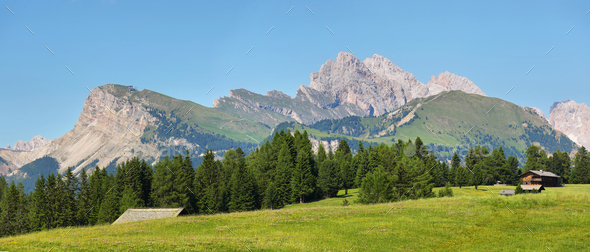 Seceda mountain views from Alpe di Siusi or Seiser Alm, Dolomites Alps , Italy - Stock Photo - Images